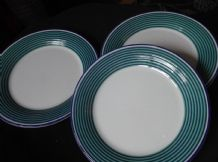 "3 X RETRO SIDE PLATES BOLD GREEN & BLUE RINGS RIM 8"" SATURN STAFFORDSHIRE"